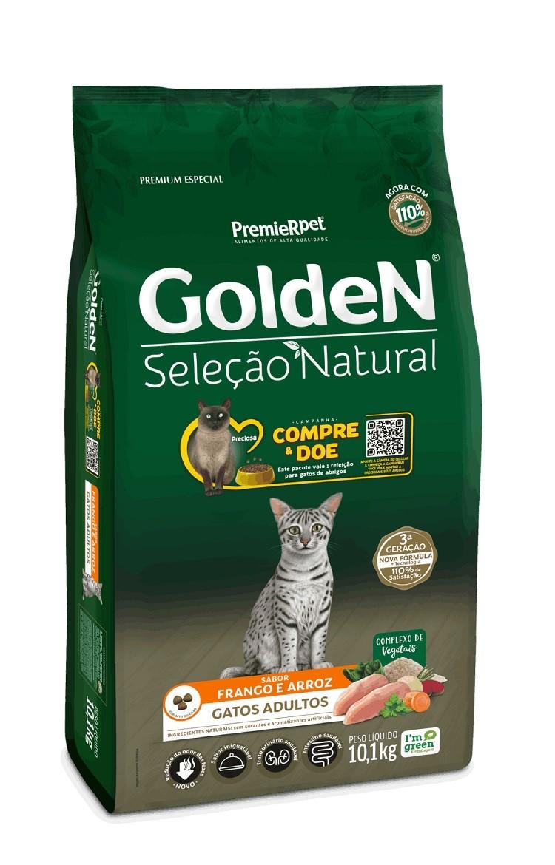 Ração Golden Seleção Natural Gatos Adultos Frango e Arroz