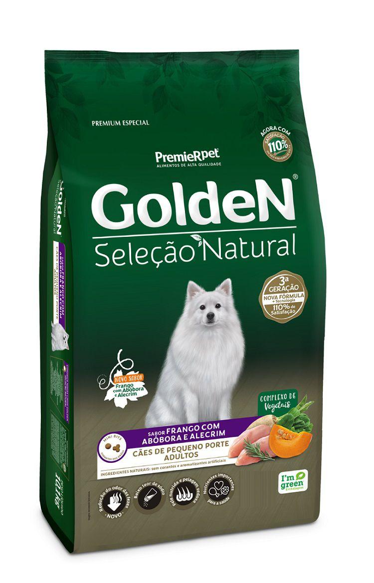 Ração Golden Seleção Natural Premium Especial Cães Adultos Raças Pequenas Frango, Abóbora e Alecrim