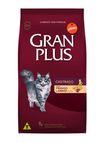 Ração GranPlus Gatos Adultos Castrados Sabor Frango e Arroz