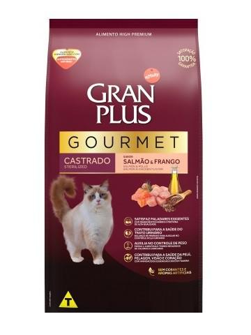 Ração GranPlus Gourmet Gatos Adultos Castrados Sabor Salmão e Frango