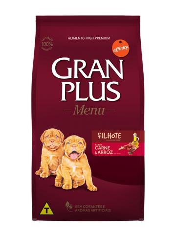 Ração GranPlus Menu Cães Filhotes Sabor Carne e Arroz