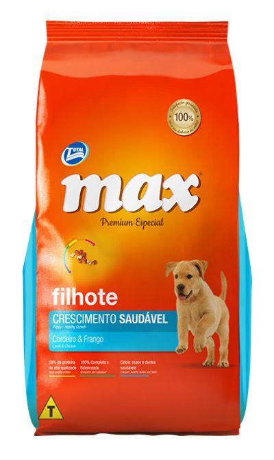 Ração Max Premium Especial Cães Filhotes Crescimento Saudável Cordeiro e Frango