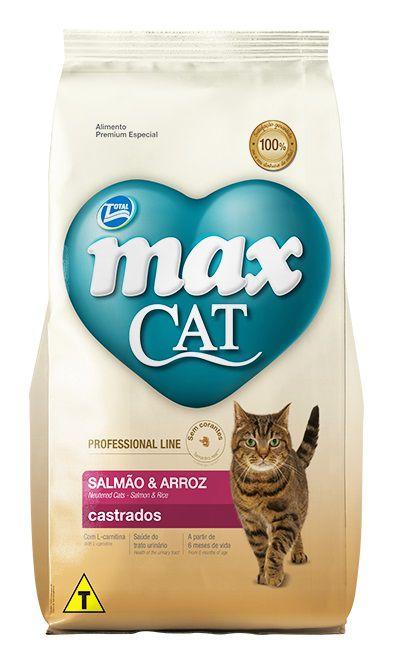 Ração Max Cat Premium Especial Professional Line Gatos Castrados Salmão e Arroz
