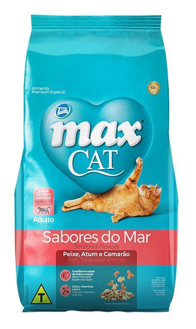 Ração Max Cat Premium Especial Sabores do Mar Gatos Adultos Peixe, Atum e Camarão 20kg