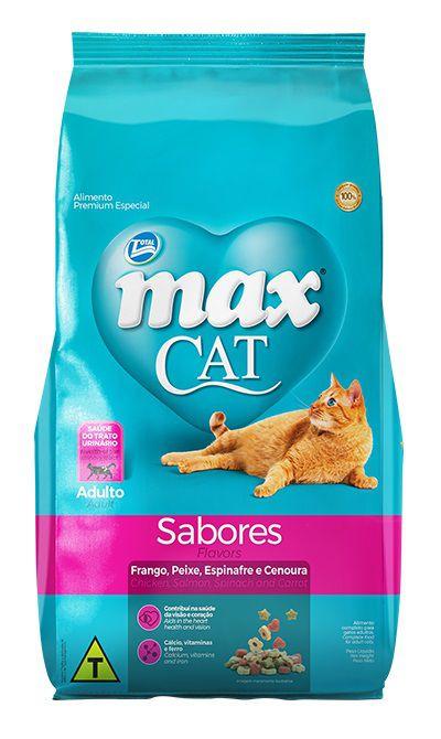 Ração Max Cat Premium Especial Sabores Gatos Adultos Frango, Peixe, Espinafre e Cenoura 20kg
