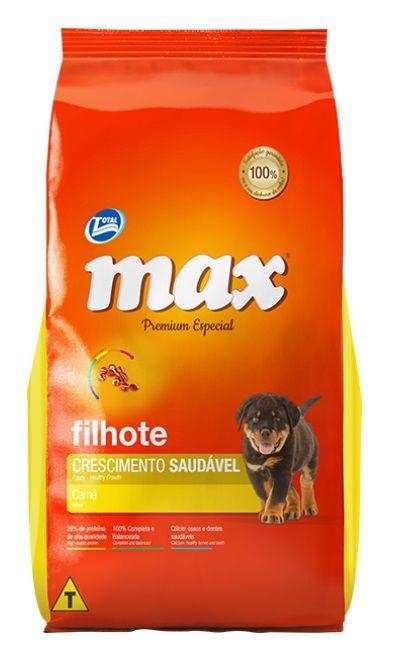 Ração Max Premium Especial Cães Filhotes Crescimento Saudável Carne