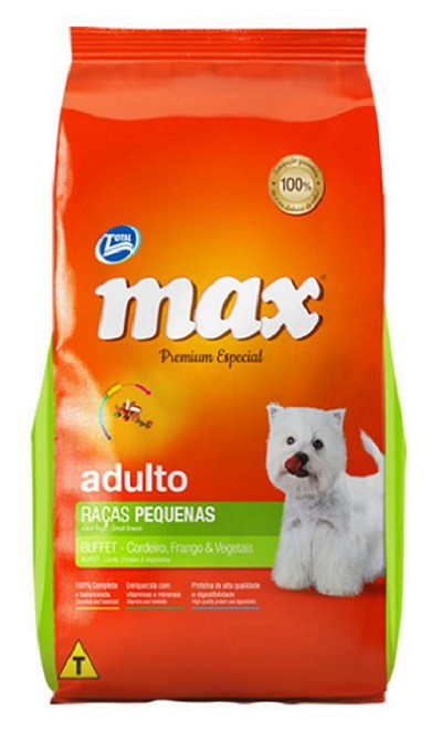 Ração Max Premium Especial Buffet Cães Adultos Raças Pequenas Cordeiro, Frango e Vegetais