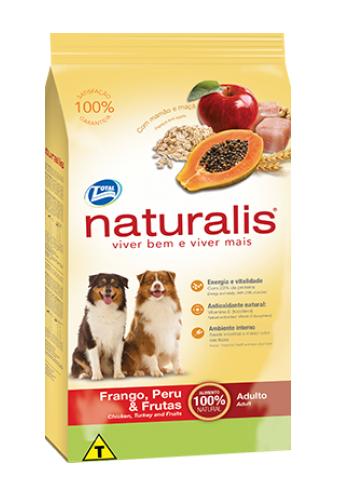 Ração Naturalis Cães Adultos Raças Grandes Frango, Peru e Frutas