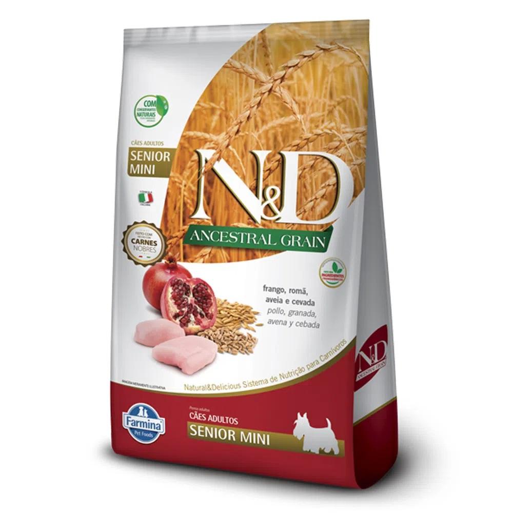 Ração N&D Ancestral Grain Cães Adultos Raças Pequenas e Mini Senior Frango, Romã, Aveia e Cevada