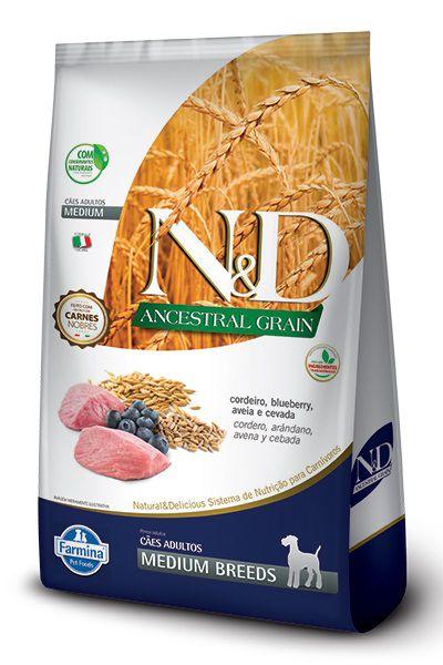Ração N&D Ancestral Grain Cães Adultos Raças Medias Cordeiro e Blueberry