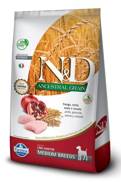 Ração N&D Ancestral Grain Cães Adultos Raças Medias Frango, Romã, Aveia e Cevada