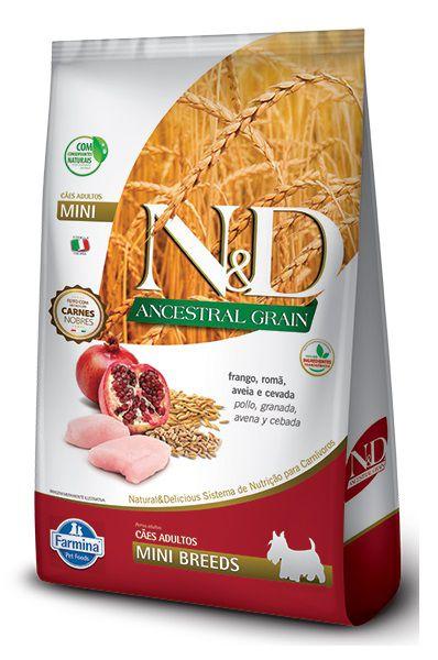 Ração N&D Ancestral Grain Cães Adultos Raças Pequenas e Mini Frango, Romã, Aveia e Cevada