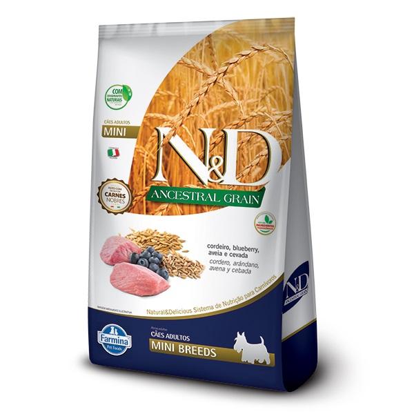 Ração N&D Ancestral Grain Cães Adultos Raças Pequenas e Mini Cordeiro e Blueberry