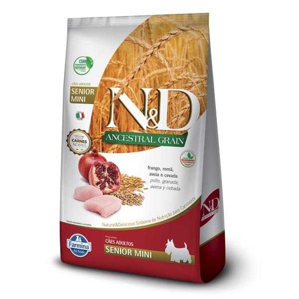 Ração N&D Ancestral Grain Cães Sênior Raças Pequenas e Mini Frango e Romã