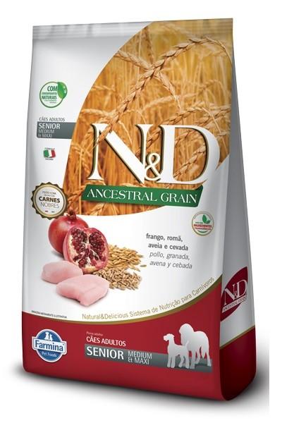 Ração N&D Ancestral Grain Cães Adultos Senior Frango, Romã, Aveia e Cevada