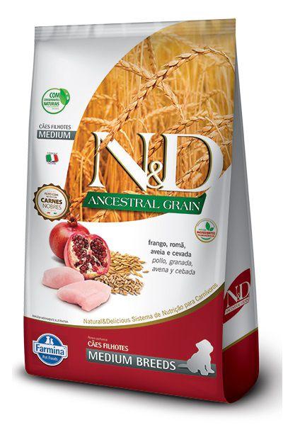 Ração N&D Ancestral Grain Cães Filhotes Raças Medias Frango, Romã, Aveia e Cevada