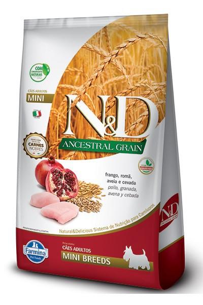 Ração N&D Ancestral Grain Cães Filhotes Raças Pequenas e Mini Frango, Romã, Aveia e Cevada