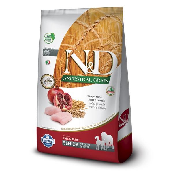 Ração N&D Ancestral Grain Cães Sênior Raças Medias Frango e Romã 10kg