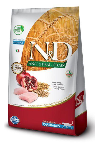 Ração N&D Ancestral Grain Gatos Adultos Castrados Frango, Romã, Aveia e Cevada