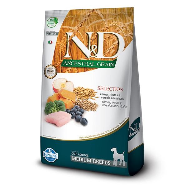 Ração N&D Ancestral Grain Selection Cães Adultos Raças Médias Carne e Frutas 15kg
