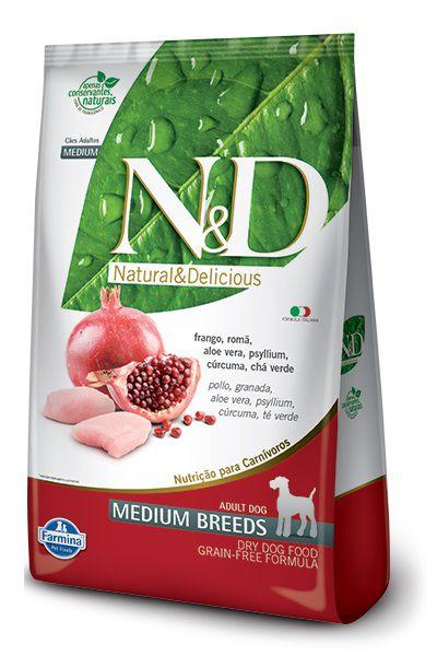 Ração N&D Prime Natural&Delicious Cães Adultos Raças Medias Frango e Romã