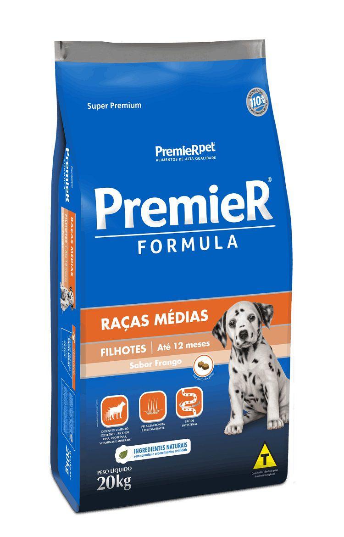 Ração Premier Formula Cães Filhotes Raças Medias Frango 20kg