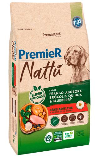 Ração Premier Nattu Cães Adultos Raças Grandes Frango, Abóbora e Brócolis