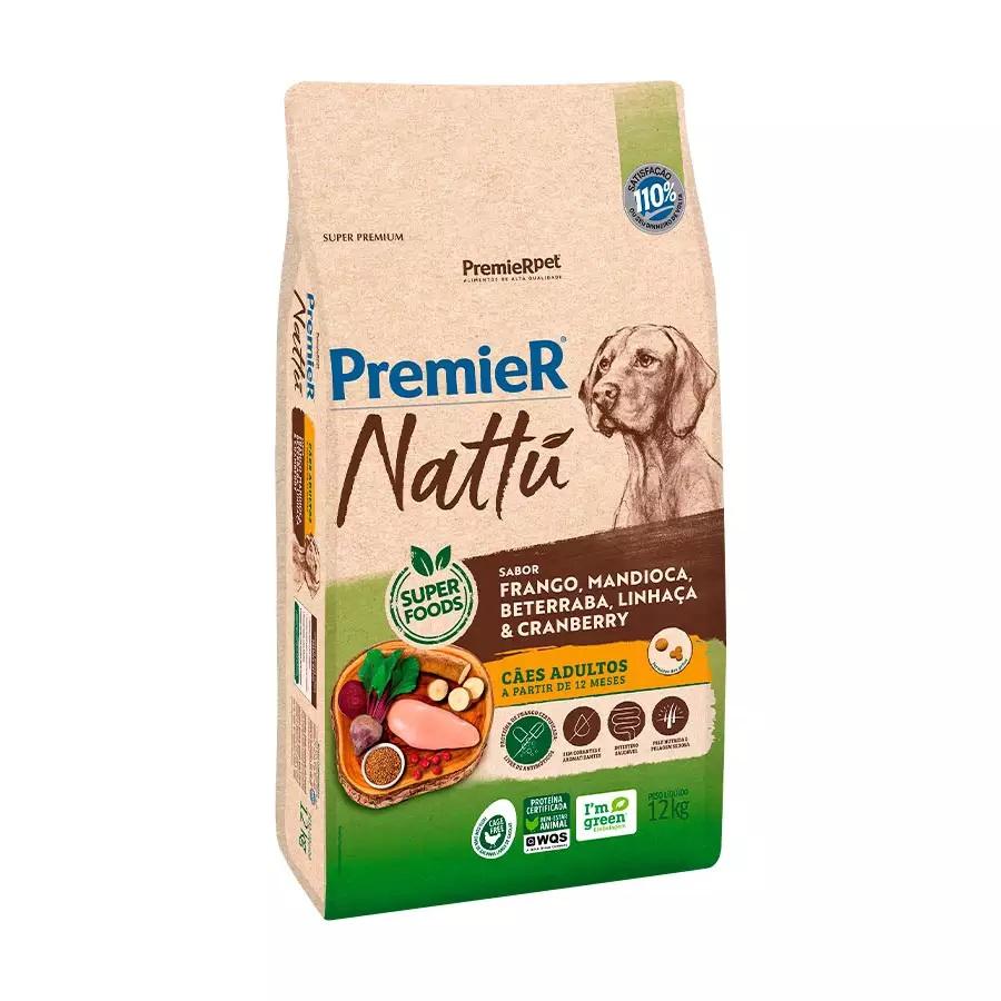 Ração Premier Nattu Cães Adultos Raças Grandes Frango, Mandioca e Beterraba