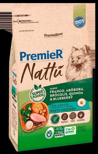 Ração Premier Nattu Cães Adultos Raças Pequenas Frango, Abóbora e Brócolis