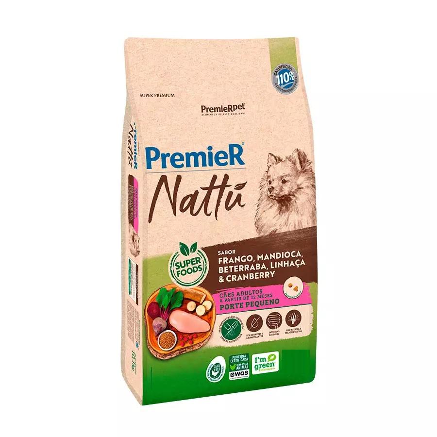 Ração Premier Nattu Cães Adultos Raças Pequenas Frango, Mandioca e Beterraba