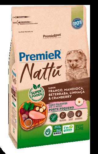 Ração Premier Nattu Cães Filhotes Raças Pequenas Frango, Mandioca e Beterraba