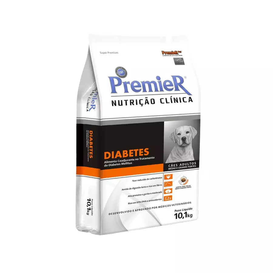 Ração Premier Nutrição Clinica Diabetes para Cães Raças Médias e Grandes 10,1kg