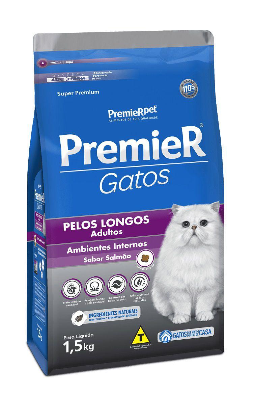 Ração Premier Ambientes Internos Gatos Adultos Pelos longos Salmão 1,5kg