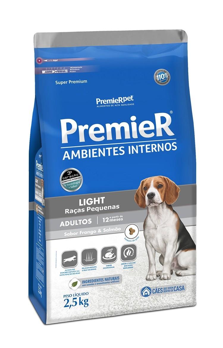 Ração Premier Ambientes Internos Light Cães Adultos Frango e Salmão