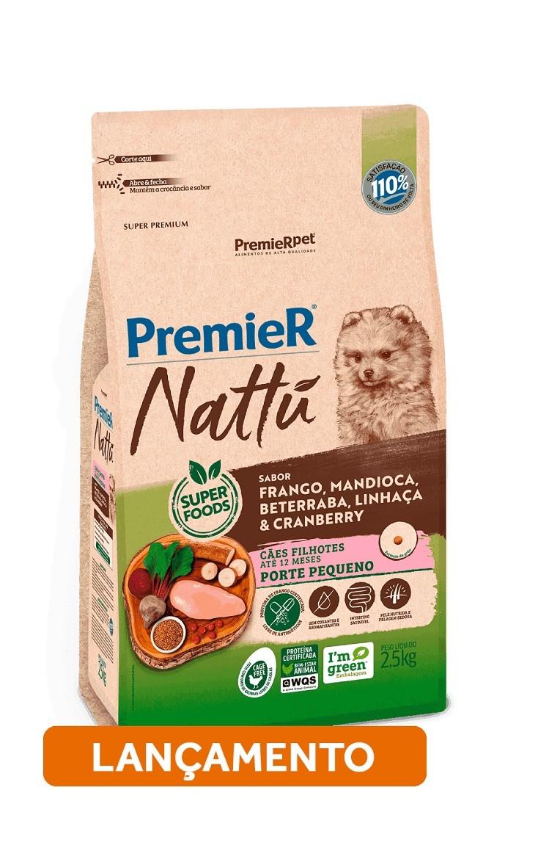 Ração Premier Pet Nattu Cães Filhotes Raças Pequenas Frango, Mandioca e Beterraba
