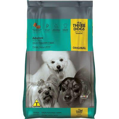 Ração Three Dogs Premium Especial Original Cães Adultos Raças Pequenas e Mini Frango, Carne e Arroz
