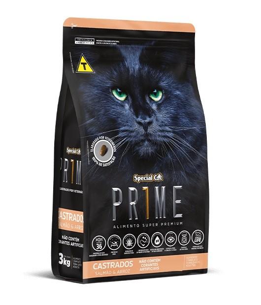 Ração Special Cat Super Premium Prime Gatos Adultos Castrado Salmão e Arroz