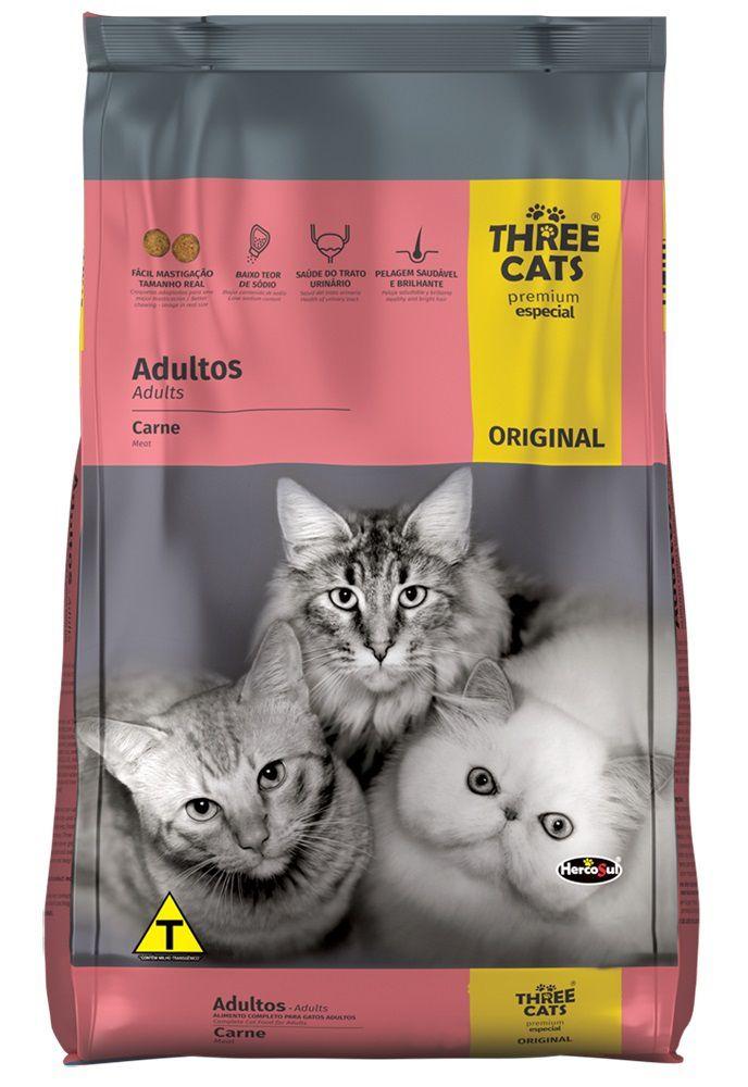 Ração Three Cats Premium Especial Original Gatos Adultos Carne