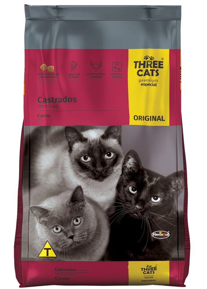 Ração Three Cats Premium Especial Original Gatos Adultos Castrados Sabor Carne