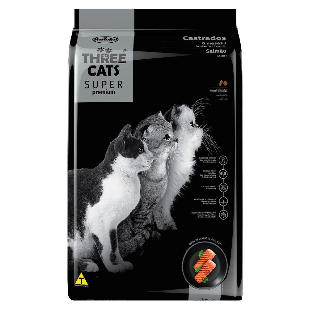 Ração Three Cats Super Premium Gatos Adultos Castrados Salmão