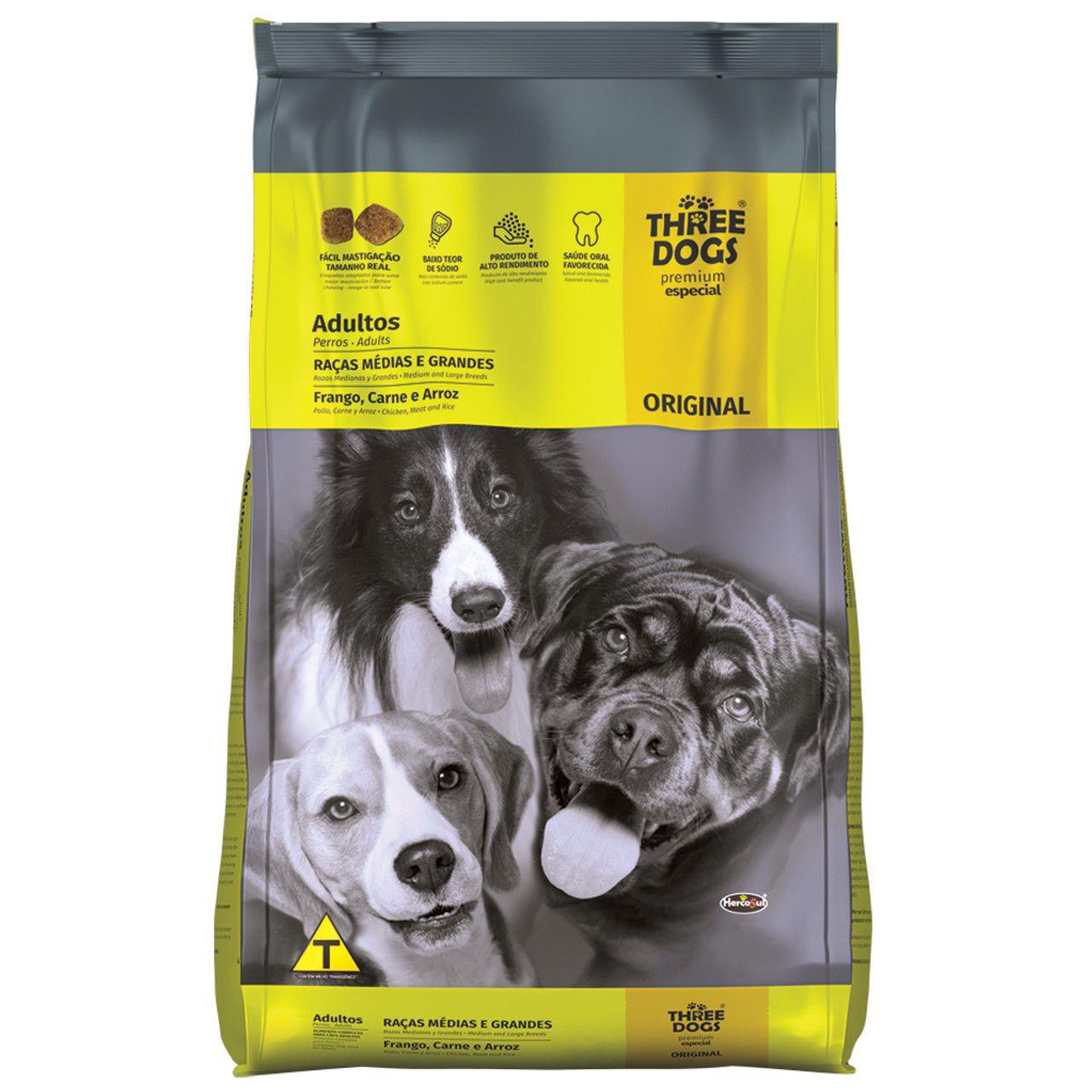 Ração Three Dogs Premium Especial Original Cães Adultos Raças Medias e Grandes Frango, Carne e Arroz
