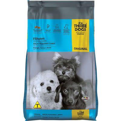 Ração Three Dogs Premium Especial Original Cães Filhotes Raças Pequenas e Mini Frango, Carne e Arroz