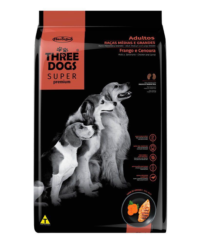 Ração Three Dogs Super Premium Cães Adultos Raças Medias e Grandes Frango e Cenoura