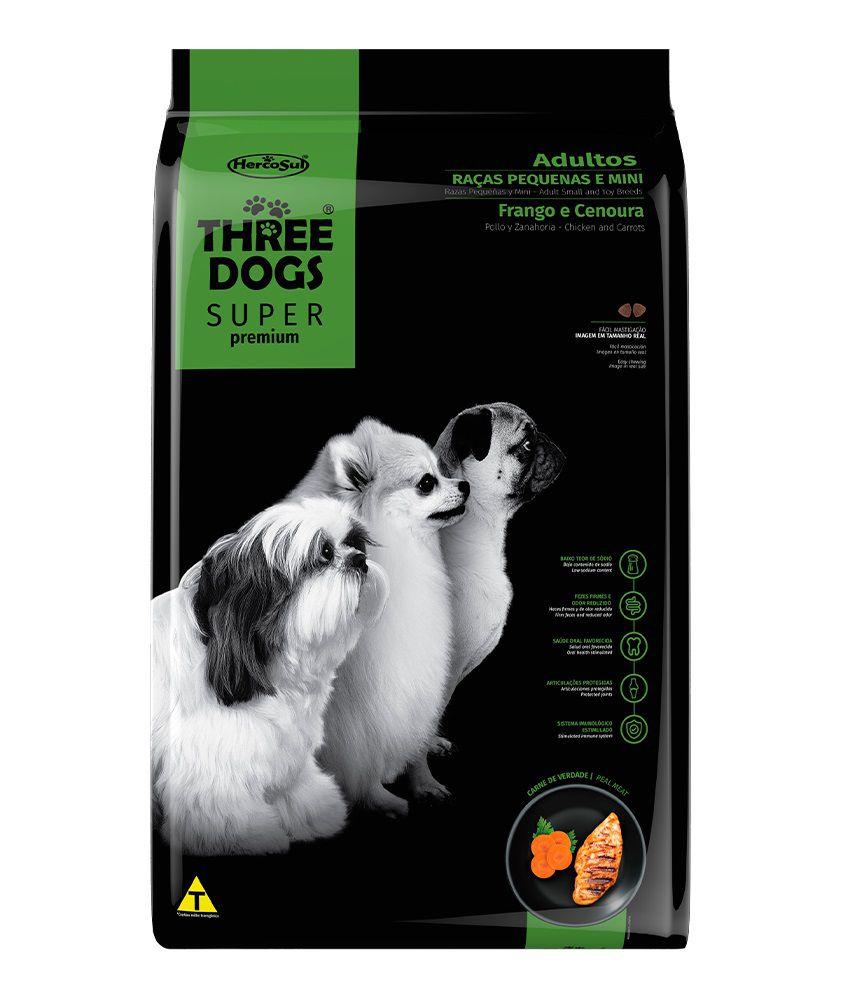 Ração Three Dogs Super Premium Cães Adultos Raças Pequenas e Mini Frango e Cenoura