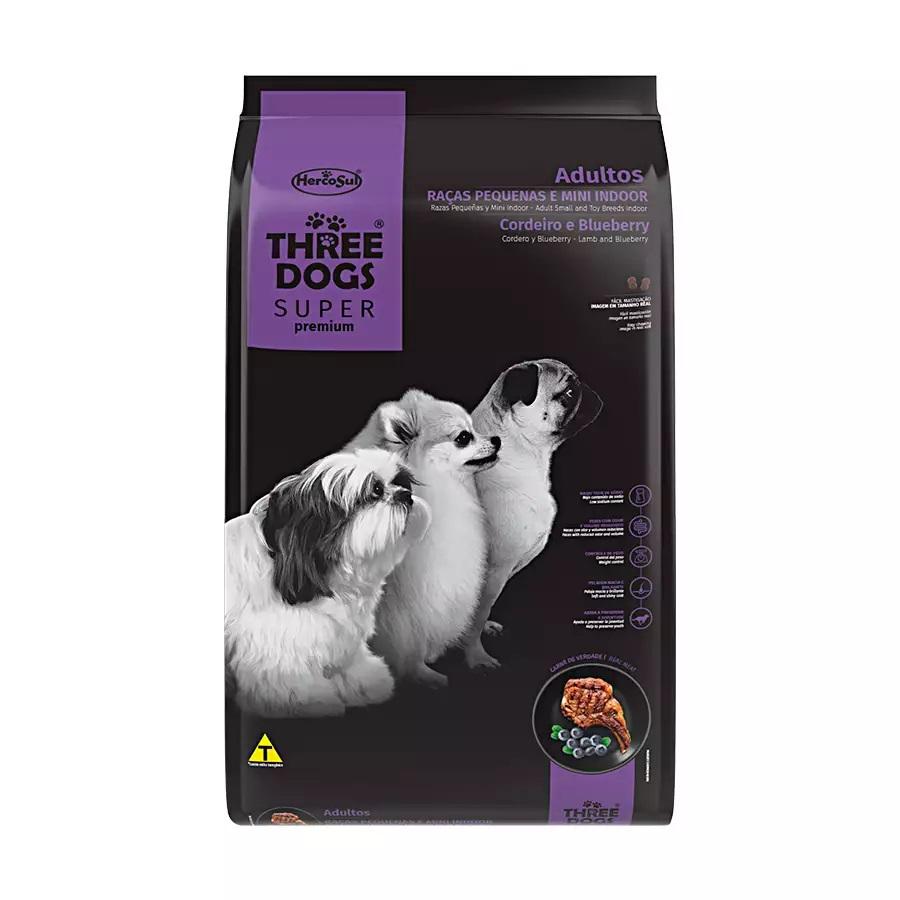 Ração Three Dogs Super Premium Cães Adultos Raças Pequenas e Mini Indor Cordeiro e Blueberry