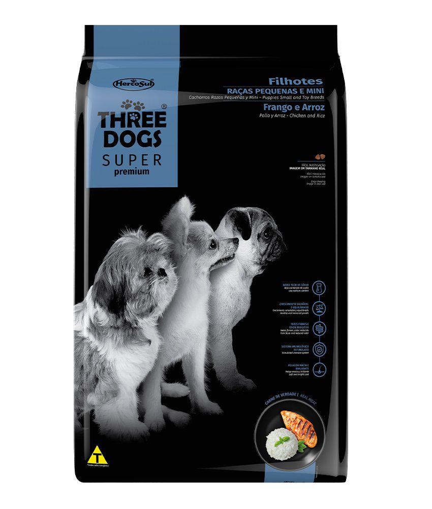 Ração Three Dogs Super Premium Cães Filhotes Raças Pequenas e Mini Frango e Arroz