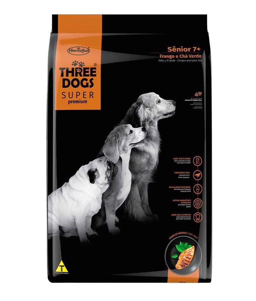 Ração Three Dogs Super Premium Cães Sênior Todas as Raças Frango e Chá Verde