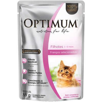 Ração Úmida Optimum Sachê para Gatos Filhotes Frango 85g