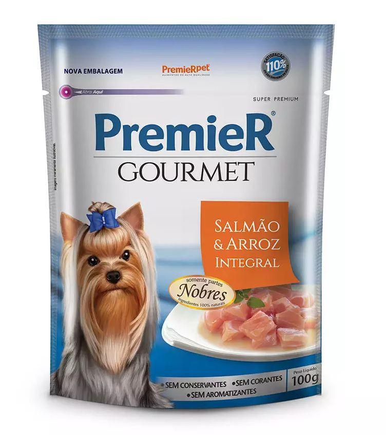 Ração Úmida Premier Gourmet Para Cães Adultos Sabor Salmão e Arroz integral 100g