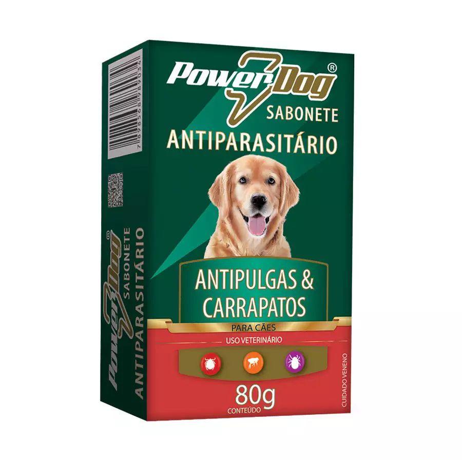 Sabonete Antiparasitário Power Dog Contra Pulgas e Carrapatos para Cães 80g